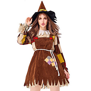 cheap Movie & TV Theme Costumes-Scarecrow Outfits Adults' Women's Halloween Halloween Festival / Holiday Polyster Brown Women's Carnival Costumes / Dress / Belt / Hat / Neckwear
