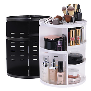 cheap Boxes, Bags & Pots-360 Degree Rotating dressing case Plastic Makeup Cosmetics Storage Box Skin Care Products Storage Rack