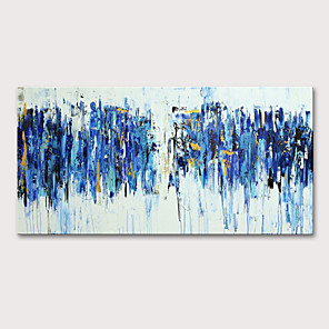 cheap Landscape Paintings-Oil Painting Hand Painted - Abstract Pop Art Modern Rolled Canvas