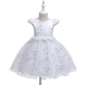 cheap Baby Girls'  Dresses-Baby Girls' Active Rose Floral / Solid Colored Mesh / Print Sleeveless Knee-length Dress White