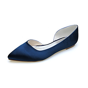 cheap Wedding Shoes-Women's Wedding Shoes Flat Heel Pointed Toe Satin Minimalism Fall / Spring & Summer Black / White / Purple / Party & Evening