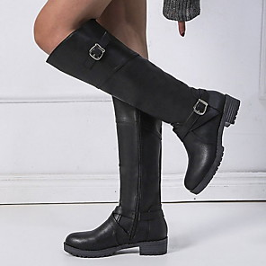 cheap Women's Boots-Women's Boots Knee High Boots Flat Heel Round Toe PU Knee High Boots Winter Black / Dark Brown / Green