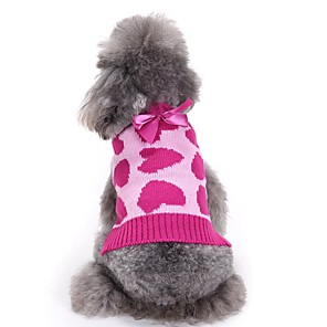 cheap Video Door Phone Systems-Dog Sweater Bowknot Love Sweet Style Simple Style Winter Dog Clothes Fuchsia Costume Acrylic Fibers XS S M L