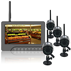 cheap Video Door Phone Systems-7 Inch Tft Digital 2.4g Wireless Night Vision 3.6mm Wide Angle Len Cameras Audio Video Baby Monitors 4ch Quad Dvr Security System With Ir Night Light Four Cameras
