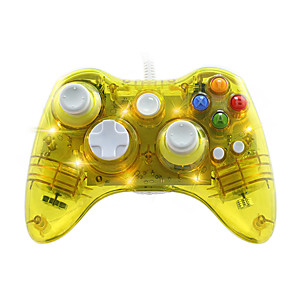 cheap Video Game Accessories-GH8611 XBOX 360 Controller USB Wired headset for Microsoft Xbox 360 Console & PC Windows7/8/10 - Transparent shell  Key improvement  Three mode Dazzling LED