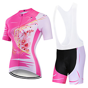 cheap Cycling Jersey & Shorts / Pants Sets-CAWANFLY Women's Short Sleeve Cycling Jersey with Bib Shorts Pink Floral Botanical Bike Clothing Suit 3D Pad Quick Dry Winter Sports Spandex Lycra Floral Botanical Mountain Bike MTB Road Bike Cycling