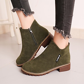 cheap Women's Boots-Women's Boots Block Heel Round Toe Suede Fall / Winter Black / Yellow / Green