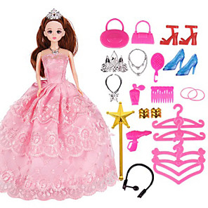 cheap Dolls Accessories-Doll Dress Party / Evening For Barbiedoll Lace Organza Dress For Girl's Doll Toy / Kids