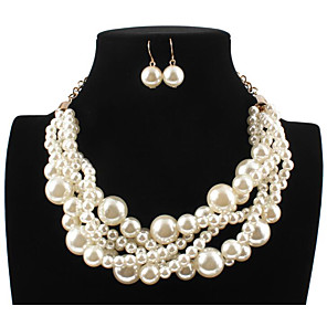cheap Jewelry Sets-Women's Pearl Bridal Jewelry Sets Layered Love Statement Colorful Imitation Pearl Earrings Jewelry bright red / White / Purple For Wedding Party 1 set
