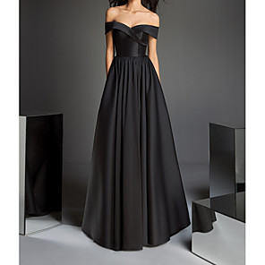 cheap Evening Dresses-A-Line Minimalist Black Prom Formal Evening Dress Off Shoulder Short Sleeve Floor Length Satin with Criss Cross Pleats 2020