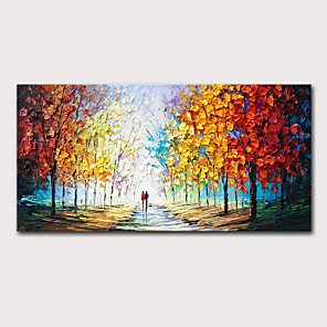 cheap Abstract Paintings-Oil Painting Hand Painted - Landscape Abstract Landscape Modern Stretched Canvas