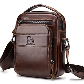 cheap Men's Bags-Men's Pattern / Print Cowhide Crossbody Bag Solid Color Black / Brown / Coffee
