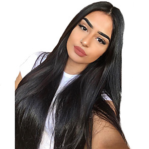 cheap Synthetic Lace Wigs-Hair Care Synthetic Lace Front Wig Synthetic Extentions Silky Straight Middle Part Lace Front Wig Long Natural Black Synthetic Hair 18-30 inch Women's Soft Adjustable Synthetic Black