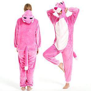 cheap Kigurumi Pajamas-Adults' Kigurumi Pajamas Pink Panther Onesie Pajamas Flannel Fabric Pink Cosplay For Men and Women Animal Sleepwear Cartoon Festival / Holiday Costumes
