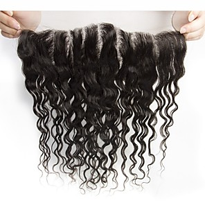 cheap 4 Bundles Human Hair Weaves-Yavida Brazilian Hair 4x13 Closure / Free Part Wet Free Part Swiss Lace Human Hair All with Baby Hair / Silky / African American Wig Wedding / Congratulations / Event / Party