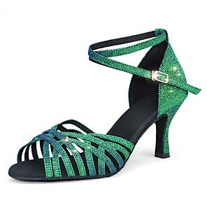 cheap Latin Shoes-Women's Dance Shoes Satin / Synthetics Latin Shoes Buckle / Glitter Heel Flared Heel Customizable Army Green
