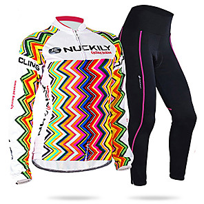 cheap Cycling Jersey & Shorts / Pants Sets-Women's Long Sleeve Cycling Jersey with Tights Winter Fleece Black Red and White Orange+White Bike Clothing Suit Thermal / Warm Waterproof Windproof Sports Geometric Mountain Bike MTB Road Bike