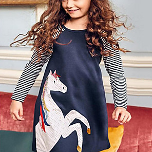 tanie Zestawy ubrań dla dziewczynek-Dzieci Dla dziewczynek Kreskówki Sukienka Niebieski