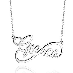 cheap Engraved Bracelets-Personalized Customized Necklace Name Necklace Gift Daily Holiday irregular 1pcs Silver / Laser Engraving