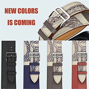 cheap Smartwatch Bands-For Apple Watch Series 5/4/3/2/1/ 38/40mm 42/44mm Wrist Bracelet Genuine Leather Double circle Watch Strap