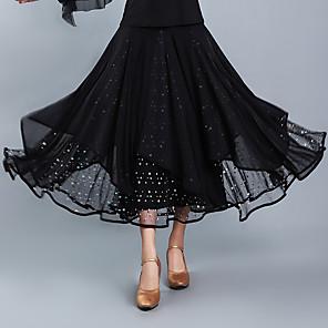 cheap Latin Dancewear-Ballroom Dance Skirts Glitter Tiered Women's Training Performance High Crystal Cotton Tulle