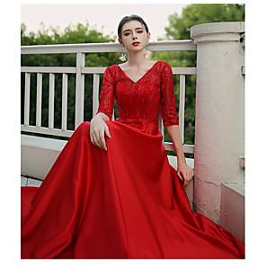 cheap Evening Dresses-A-Line Minimalist Plus Size Formal Evening Dress V Wire Half Sleeve Floor Length Lace Jersey Cotton with Lace Insert 2020