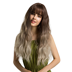 cheap Synthetic Trendy Wigs-Synthetic Wig Bangs Curly Water Wave Side Part Neat Bang With Bangs Wig Ombre Medium Length Ombre Color Synthetic Hair 24 inch Women's Cosplay Women Synthetic Dark Brown Ombre HAIR CUBE / Ombre Hair