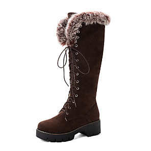 cheap Women's Boots-Women's Boots Snow Boots Chunky Heel Round Toe Suede Fall & Winter Brown / Yellow