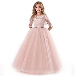 cheap Movie & TV Theme Costumes-Kids Girls' Flower Princess Girls Lace Applique Dress Birthday Wedding Party Princess Prom Dresses