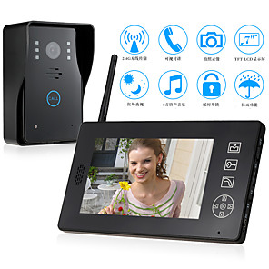 cheap Video Door Phone Systems-Wireless 2.4GHz 7 inch Hands-free 800*480 Pixel One to One Video Doorphone