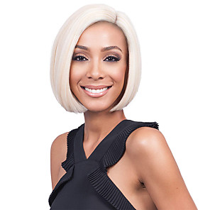 cheap Synthetic Lace Wigs-Synthetic Lace Front Wig Straight Side Part Lace Front Wig Blonde Short Platinum Blonde Synthetic Hair 10-12 inch Women's Adjustable Heat Resistant Party Blonde
