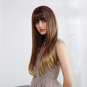 cheap Synthetic Trendy Wigs-Synthetic Wig Bangs Straight Natural Straight Side Part Neat Bang With Bangs Wig Long Ombre Color Synthetic Hair 22 inch Women's Cosplay Women Synthetic Brown HAIR CUBE / Ombre Hair