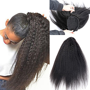 cheap Synthetic Trendy Wigs-Kinky Straight Ponytail For Women Natural Coarse Yaki Remy Hair 1 Piece Clip In Ponytails Black 100% Human Hair Extension Dolago