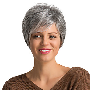 cheap Human Hair Capless Wigs-Human Hair Wig Short Curly Pixie Cut Short Hairstyles 2019 With Bangs Curly Short Side Part Women's Grey Dark Wine Medium Auburn / Bleach Blonde 8 inch