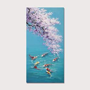 cheap Abstract Paintings-Oil Painting Hand Painted - Animals Floral / Botanical Modern Stretched Canvas