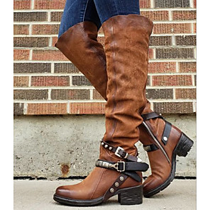 cheap Women's Boots-Women's Boots Knee High Boots Low Heel Round Toe PU Knee High Boots Fall & Winter Wine / Brown / Black