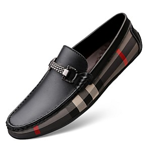 cheap Men's Slip-ons & Loafers-Men's Dress Shoes Fall Business / Casual Daily Outdoor Office & Career Loafers & Slip-Ons Leather Wear Proof White / Black
