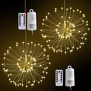 cheap LED String Lights-ZDM 2PCS Waterproof 60 Branches120LED Battery Operated Hanging Starburst Lights LED Fireworks lamp LED Broom Copper Wire Timed Colorful Lantern Creative Party Festival Decor