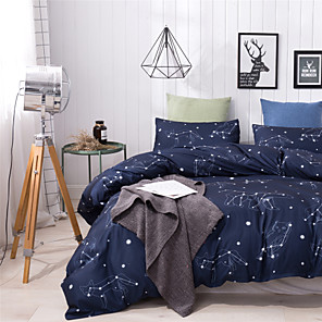 cheap Duvet Covers-Star Night Print 3 Pieces Bedding Set Duvet Cover Set Modern Comforter Cover-3 Pieces-Ultra Soft Hypoallergenic Microfiber Include 1 Duvet Cover and 1 or2 Pillowcases