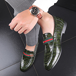 cheap Men's Slip-ons & Loafers-Men's Dress Shoes Spring / Summer / Fall Business / Casual Daily Outdoor Office & Career Loafers & Slip-Ons Walking Shoes PU Wear Proof Red / Green / Black / Buckle / Winter