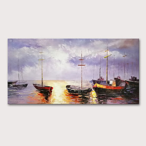cheap Abstract Paintings-Oil Painting Hand Painted - Landscape Abstract Landscape Modern Rolled Canvas