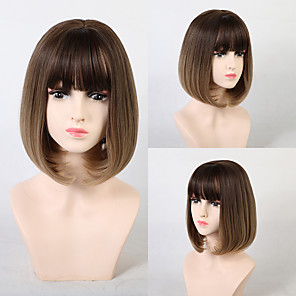 cheap Makeup Brush Sets-Synthetic Wig Ombre Natural Wave Neat Bang With Bangs Wig Blonde Short Medium Brown / Strawberry Blonde Dark Purple Synthetic Hair 12 inch Women's Women Synthetic Sexy Lady Blonde Purple EMMOR