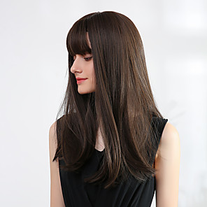 cheap Synthetic Trendy Wigs-Synthetic Wig Bangs Ombre Straight Natural Straight Avril Neat Bang Wig Black / Blonde Long Light golden Rose Gold Medium Brown / Strawberry Blonde Black / Brown Synthetic Hair 20 inch Women's Women