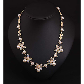 cheap Jewelry Sets-Women's Pearl Pearl Necklace Floral Floral / Botanicals Cute Imitation Pearl White 43+7 cm Necklace Jewelry 1pc For Wedding Engagement