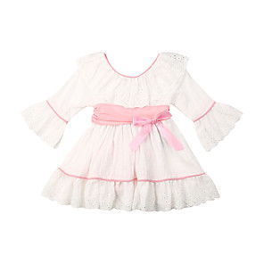 cheap Baby Girls'  Dresses-Baby Girls' Active Solid Colored Lace Short Sleeve Dress White