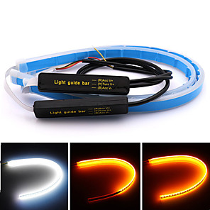 cheap Car Body Decoration & Protection-2pcs 60cm Universal Car DRL LED Strip Flexible Flowing 150 leds Turn Signal Lights Auto Angel Eyes Daytime Running Lamp Decoration Lights