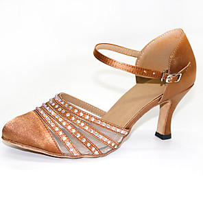 cheap Latin Shoes-Women's Dance Shoes Modern Shoes Ballroom Shoes Heel Crystal / Rhinestone / Crystals Flared Heel Customizable Brown / Performance / Satin / Practice