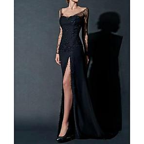 cheap Evening Dresses-Sheath / Column Sexy Black Engagement Formal Evening Dress Scoop Neck Long Sleeve Floor Length Chiffon with Beading Lace Insert Split Front 2020
