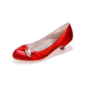 cheap Wedding Shoes-Women's Wedding Shoes Kitten Heel Round Toe Rhinestone Satin Sweet Fall / Spring & Summer Black / White / Purple / Party & Evening