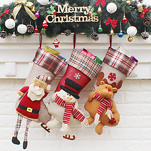 cheap Christmas Decorations-Christmas Stockings Elk New Year Candy Bag Christmas Tree Ornaments Party Kids Gift Bags